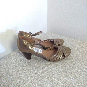 Frye MaryJane Shimmery Gold Sandals